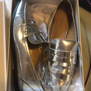 Micheal kors Connor loafers metallic leather shoe